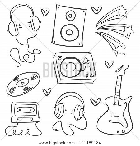 Collection stock of musical instrument doodles vector art