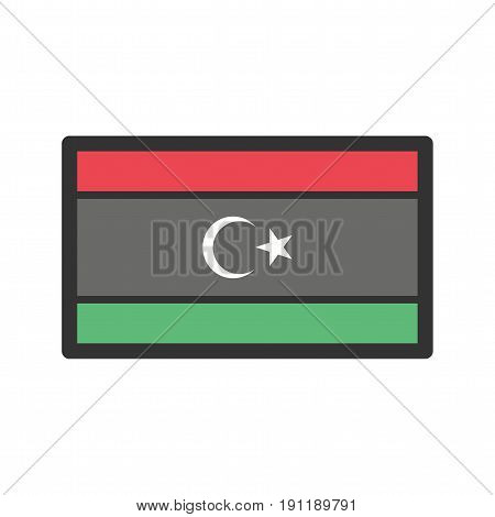 Libya, flag, national icon vector image. Can also be used for flags. Suitable for web apps, mobile apps and print media.