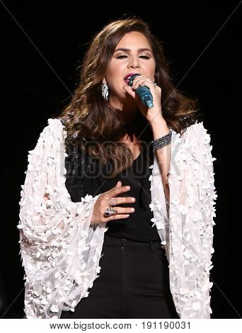 NASHVILLE, TN-JUN 10: Country singer Hillary Scott of Lady Antebellum performs in concert at the CMA Music Festival on June 10, 2017 at Nissan Stadium in Nashville, Tennessee.