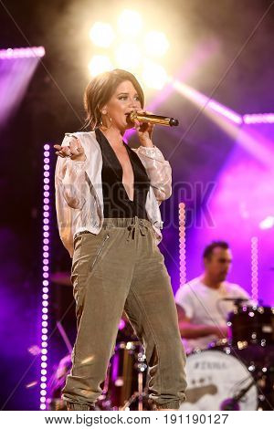 NASHVILLE, TN-JUN 10: Country singer Maren Morris performs in concert during the CMA Music Festival on June 10, 2017 at Nissan Stadium in Nashville, Tennessee.