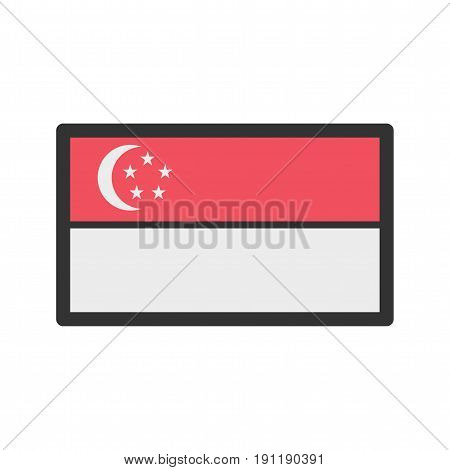 Singapore, flag, national icon vector image. Can also be used for flags. Suitable for web apps, mobile apps and print media.