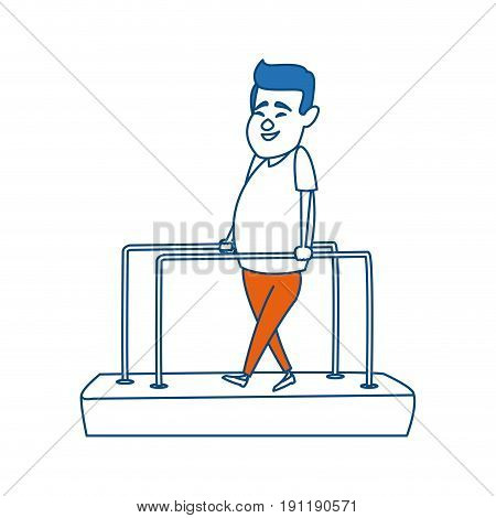 cartoon man patient in the rehabilitation therapy
