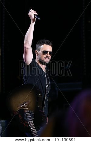NASHVILLE, TN-JUN 9: Country singer Eric Church performs in concert during the 2017 CMA Music Festival on June 9, 2017 at Nissan Stadium in Nashville, Tennessee.