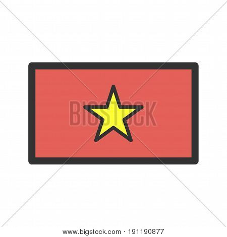 Vietnam, flag, national icon vector image. Can also be used for flags. Suitable for web apps, mobile apps and print media.