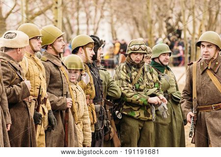 Gomel Belarus - November 26 2016: The structure of Soviet soldiers of the Red Army during the Second World War. Reconstruction of battles in Gomel