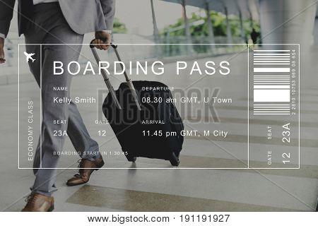 Flight detail banner on traveler background