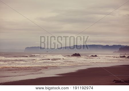 Rigorous Northern Pacific oceanic coast, Pacific Northwest, Instagram filter.