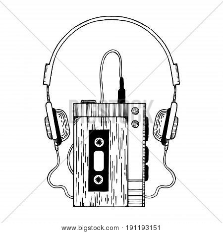 Portable audio cassette player with headphones vector illustration. Scratch board style imitation. Hand drawn image.