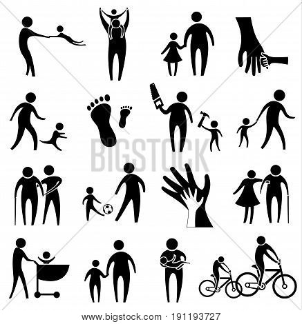 activity of father and child icon set father day concept