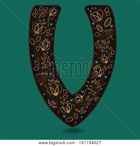 The Letter V with Golden Floral Decor. Dark brown symbol. Yellow flowers and plants with metallic blazing effect. Blue small hearts. Vector Illustration