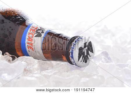 Tecate Light On Ice Closeup