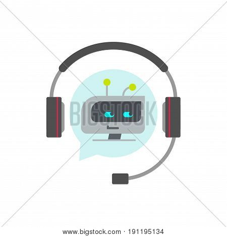 Chatbot support assistant vector icon, flat cartoon robot or bot face in headphones, concept of automatic online chat service symbol