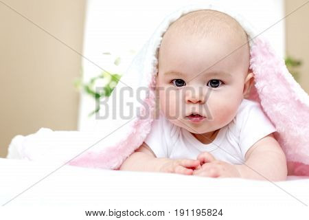 Newborn Baby Girl On Her Blanket