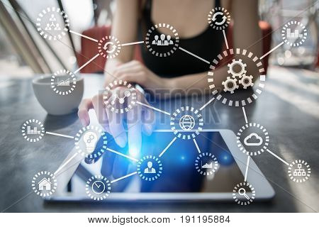 IOT. Internet of things. Automation and modern technology concept.