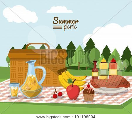 colorful poster of summer picnic with outdoor landscape and picnic basket in tablecloth with juice jar and fruits and sauces and meat vector illustration