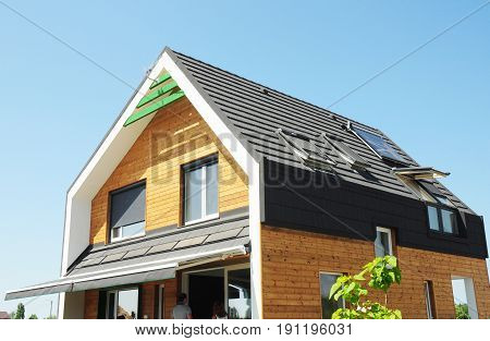 Modern Passive House Construction. Solar water heating (SWH) systems use roof solar panels. Home Skylights Dormer. Eco Smart House Energy Efficiency. Attic skylight.