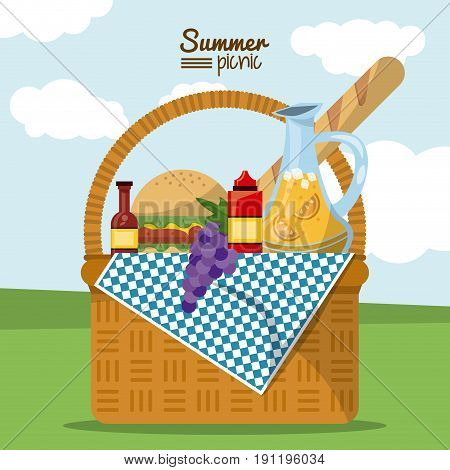 colorful poster of summer picnic with outdoor landscape and picnic basket full of food vector illustration