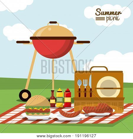 colorful poster of summer picnic with field landscape and picnic basket in tablecloth with charcoal grill and sausage and sauces and burger vector illustration