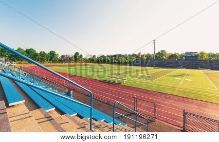 Blue Bleachers In A Sports Stadium