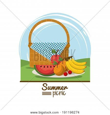 colorful logo summer picnic with outdoor landscape with picnic basket and dish with tropical fruits vector illustration