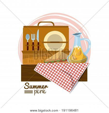 colorful logo summer picnic with picnic basket on table over tablecloth with sandwich and juice jar vector illustration