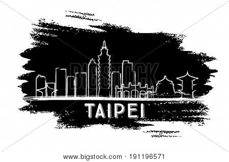 Taipei Skyline Silhouette. Hand Drawn Sketch. Business Travel and Tourism Concept with Modern Architecture. Image for Presentation Banner Placard and Web Site.