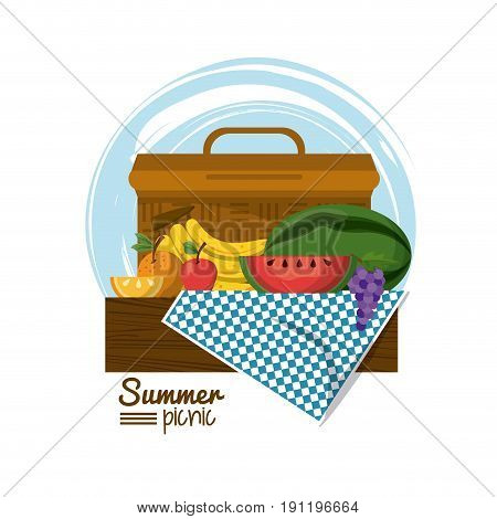 colorful logo summer picnic with picnic basket on table over tablecloth with tropical fruits vector illustration