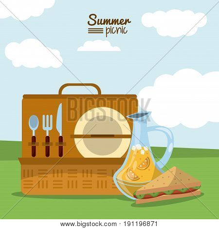 colorful poster of summer picnic with outdoor landscape and picnic basket with cutlery set and juice jar and sandwich vector illustration