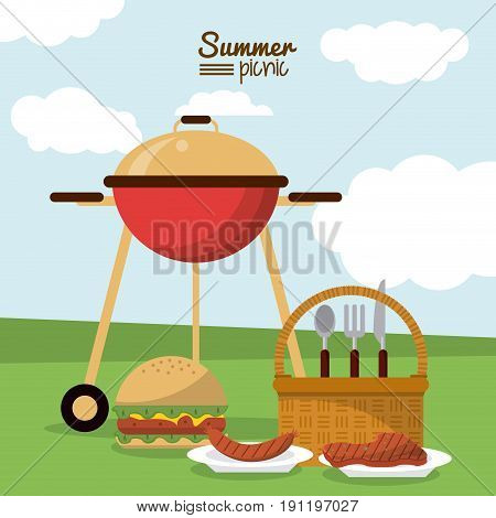colorful poster of summer picnic with field landscape with picnic basket and charcoal grill and dishes with sausage and meat and burger vector illustration