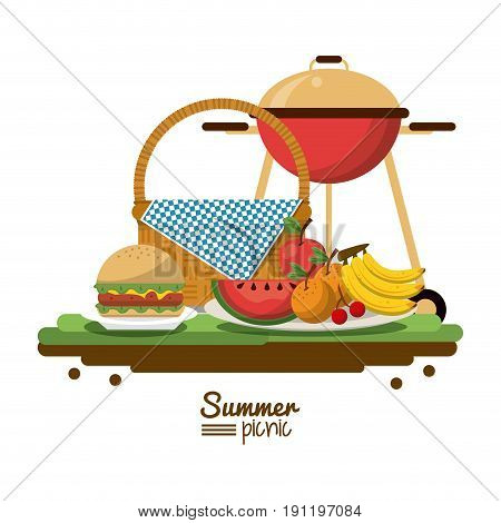 white background of colorful poster of summer picnic with picnic basket and charcoal grill and dishes with fruits and burger vector illustration