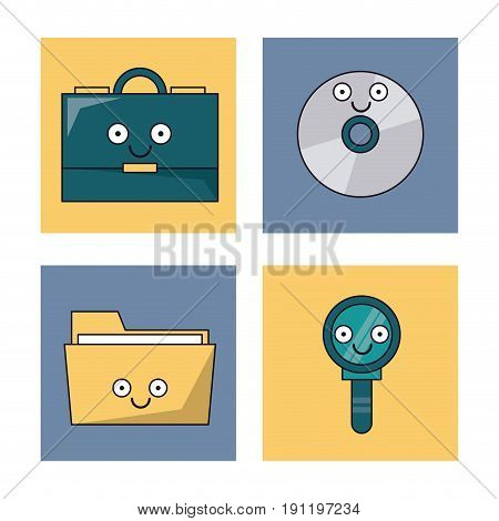 white background with set of frames with office icons animated vector illustration