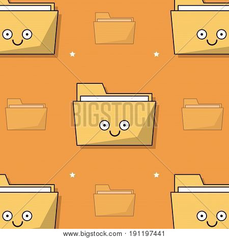 colorful background with pattern of animated folder icon vector illustration