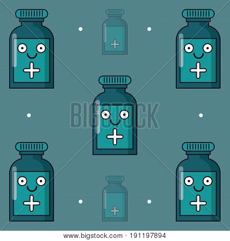 colorful background with pattern of medicine bottle animated vector illustration
