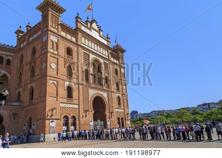 MADRID, SPAIN - MAY 24 ,2014: This is the queue for tickets to the bullfight in the Las Ventas Bullring.