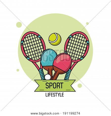 colorful poster of sport lifestyle with elements of tennis and ping pong vector illustration