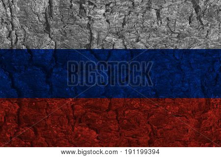 Grunge Russian national flag on pine bark texture background
