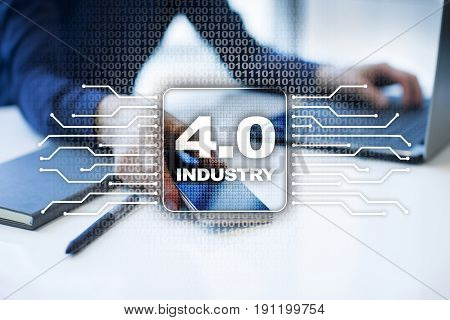 Industry 4.0 IOT Internet of things Smart manufacturing concept. Industrial 4.0 process infrastructure. background