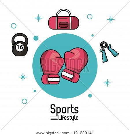 colorful poster of sports lifestyle with boxing gloves and boxing icons vector illustration