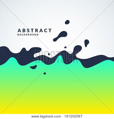 Bright abstract vector background with a dynamic waves and splashes. Poster with gradient and the text field