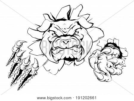 Bulldog sports mascot or character smashing out of background