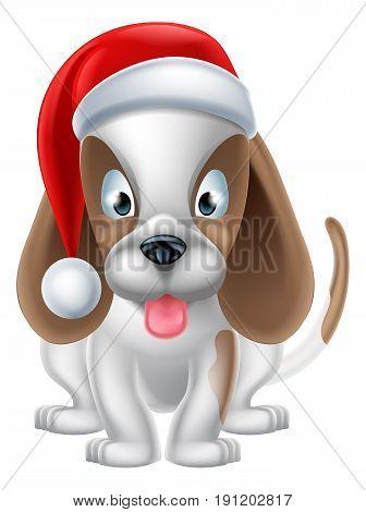 An illustration of a cartoon Puppy Dog wearing a Christmas Santa hat