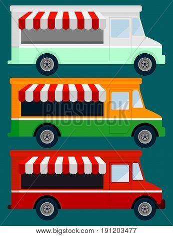 Set Of Color Food Truck. Street Food Truck concept design. Vector illustration flat design