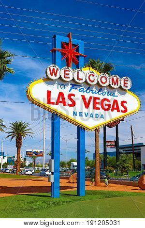 The Welcome to Fabulous Las Vegas sign on bright sunny day in Las Vegas, Nevada USA,07 Oct 2016