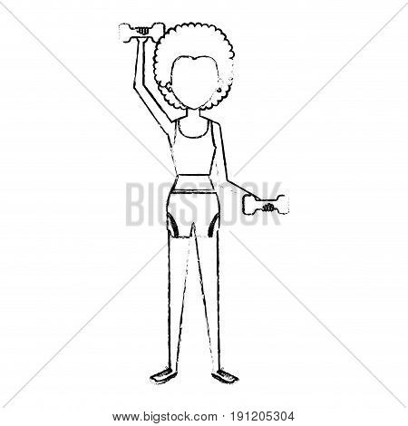 woman weight lifting with sport wear vector illustration design