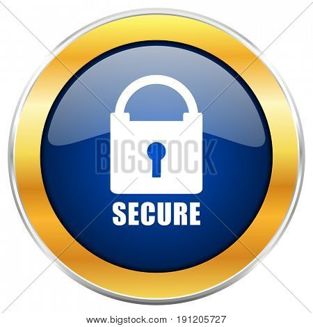 Secure blue web icon with golden chrome metallic border isolated on white background for web and mobile apps designers.