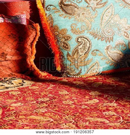In Oman Old Carpet And Pillow