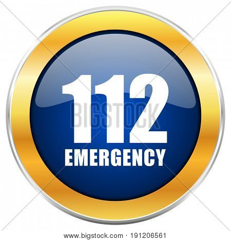 Number emergency 112 blue web icon with golden chrome metallic border isolated on white background for web and mobile apps designers.