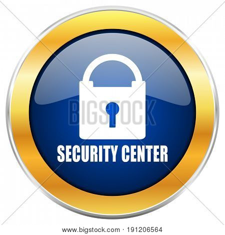 Security center blue web icon with golden chrome metallic border isolated on white background for web and mobile apps designers.