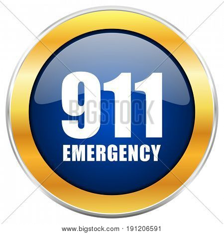 Number emergency 911 blue web icon with golden chrome metallic border isolated on white background for web and mobile apps designers.