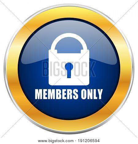 Members only blue web icon with golden chrome metallic border isolated on white background for web and mobile apps designers.
